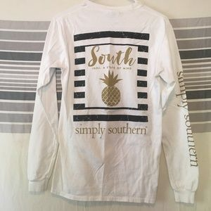 a92642386ea4 Simply Southern Tops - Simply Southern Pineapple White Long Sleeve Tee